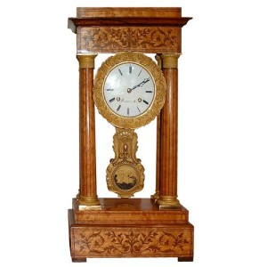 A Charles X Neoclassical Bird's-Eye Maple Marquetry Mantel Clock No. 2633
