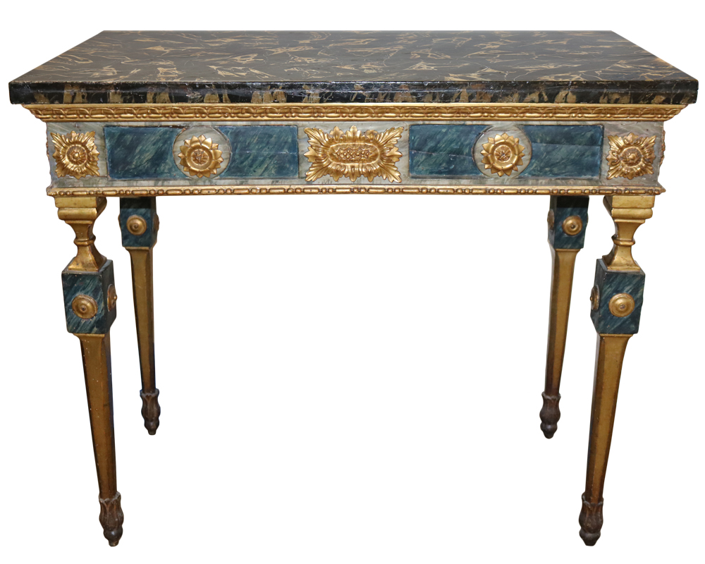 An 18th Century Louis XVI Polychrome and Parcel-Gilt Console Table No. 1890