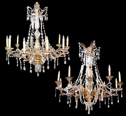 A Harlequin Pair of 19th Century Giltwood, Bronze and Crystal 10-Light Chandeliers No. 2915