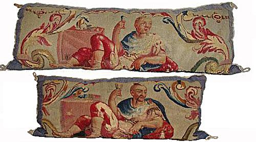 A Pair of 18th Century Flemish Chinoiserie Tapestry Fragment Cushions No. 2951