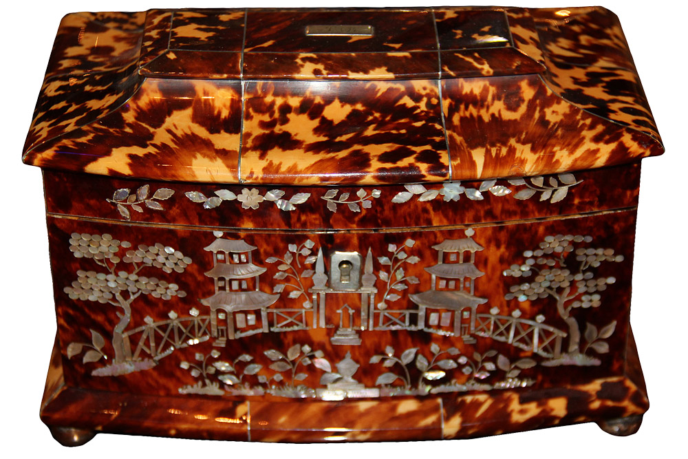 A 19th Century English Regency Tortoiseshell Tea Caddy No. 1971