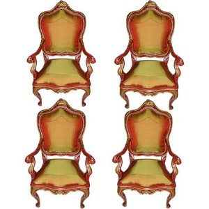 A Set of Four 18th Century Sicilian Louis XV Polychrome and Parcel-Gilt Armchairs No. 3080
