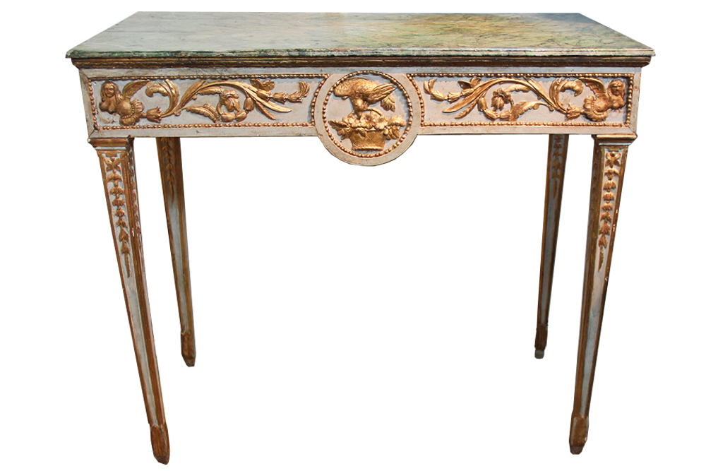 An 18th Century Italian Parcel-Gilt and Polychrome Console No. 2031