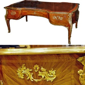 A Late 19th Century Louis XV Tulipwood Bureau Plat No. 2397
