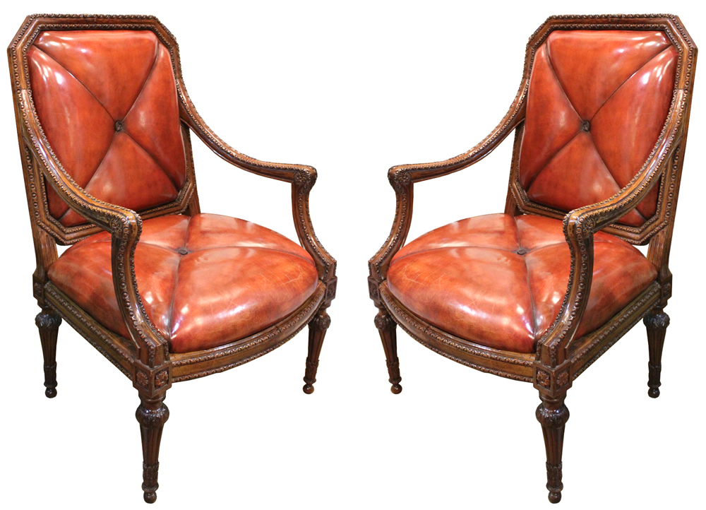 A Rare Pair of 18th Century Italian Louis XVI Walnut Armchairs No. 2041