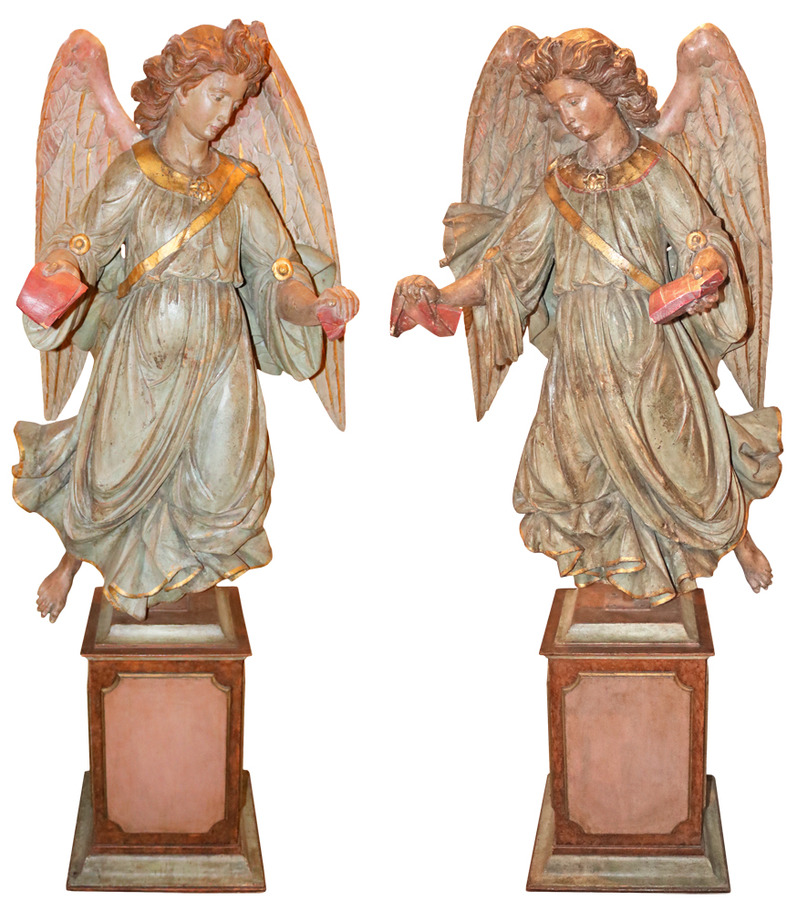 An Exquisite Pair of 18th Century Duomo Polychrome and Parcel-Giltwood Angels No. 2072