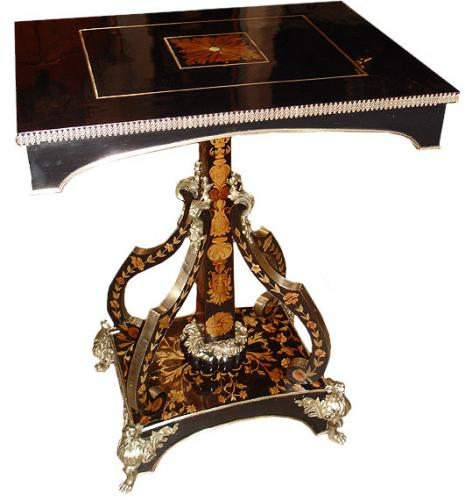 A Dramatic Continental 19th Century Ebony & Marquetry Pedestal Table No. 3112