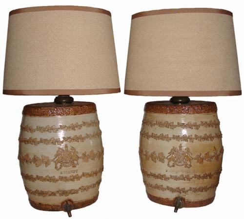 A Pair of 19th Century Ceramic Brandy and Scotch Ceramic Barrel Dispensers Now Lamps No. 3027