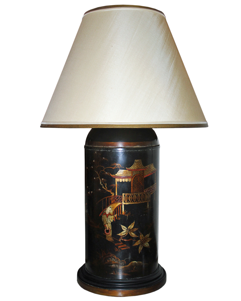 A 19th Century Chinoiserie Black Tole Tea Canister Lamp No. 2086