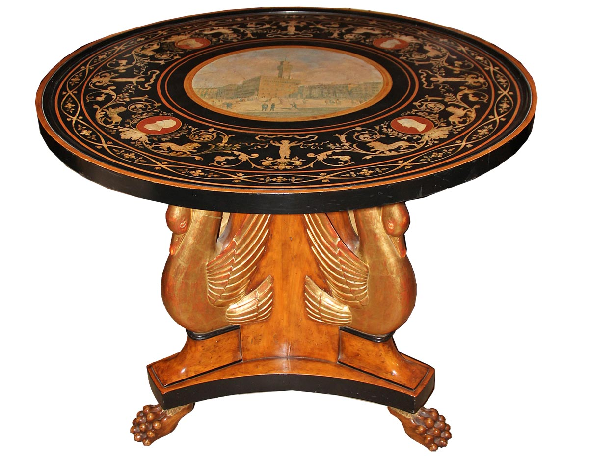 An Italian 19th Century Scagliola Tabletop on a Later Polychrome and Parcel-Gilt Base No. 2106