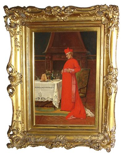 A Colorful Albert-Joseph Penot (1862-1930) Signed 19th Century Oil on Canvas entitled The Cardinal After His Meal No. 3195