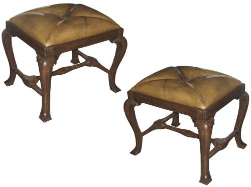 A Pair of Continental French Walnut Tabourets No. 3229