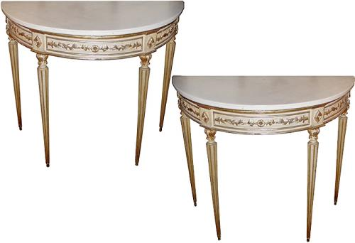 A Rare and Pristine Pair of 18th Century Italian Louis XVI Demilune Console Tables No. 2015