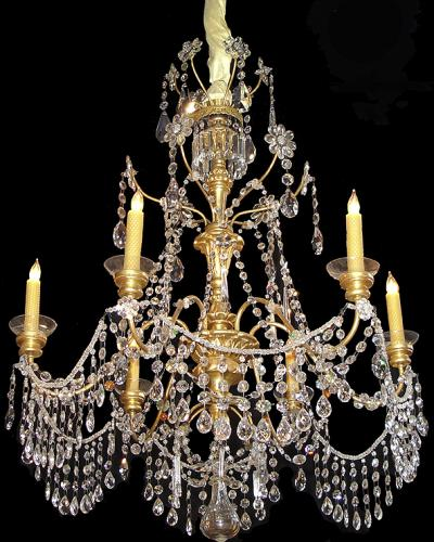 A 19th Century 6-Light Genovese Parcel-Gilt and Crystal Chandelier No. 3258