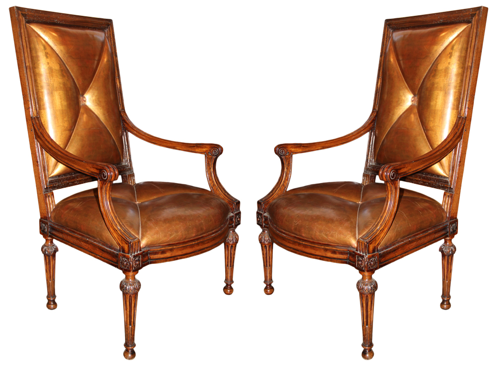 A Pair of 18th Century Italian Louis XVI Walnut Armchairs No. 2285