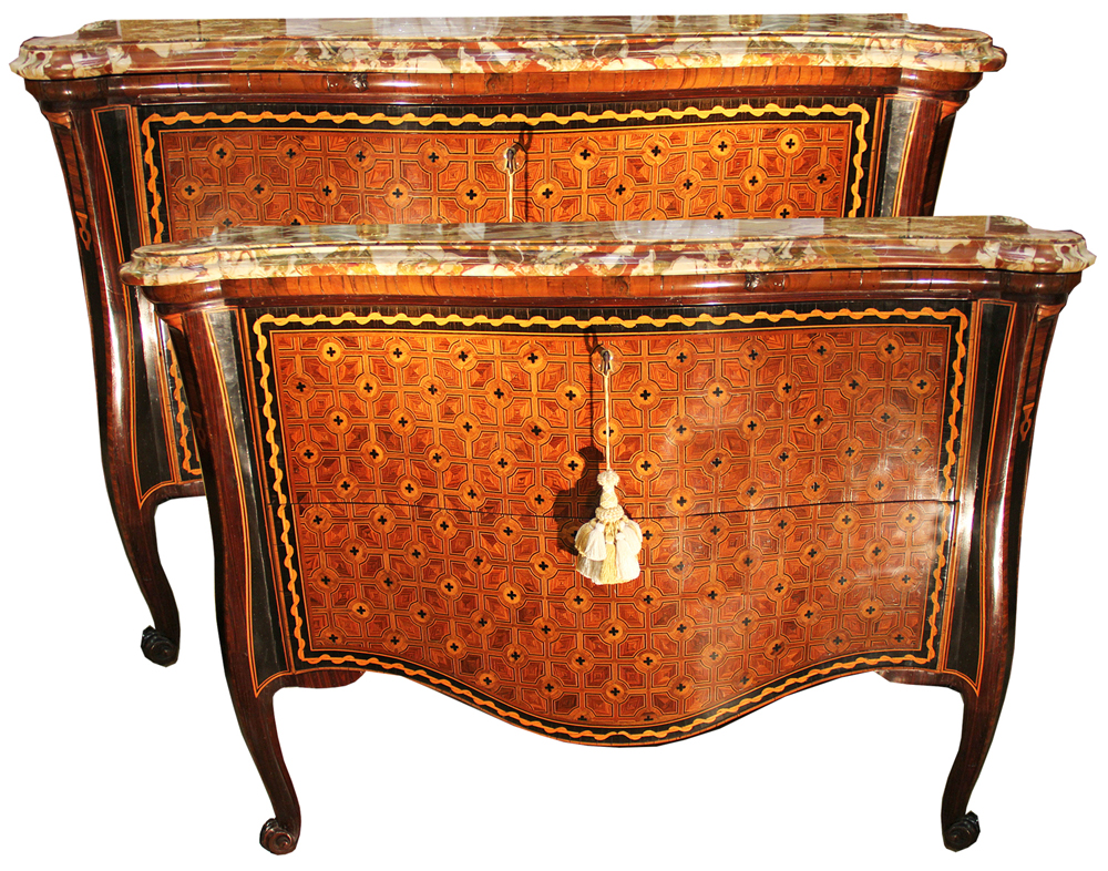 A Remarkable Pair of 18th Century Italian Parquetry Arbalette Commodes No. 2349