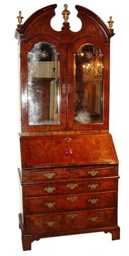 A Handsome 18th Century Burl Walnut Queen Anne Secretaire No. 2434