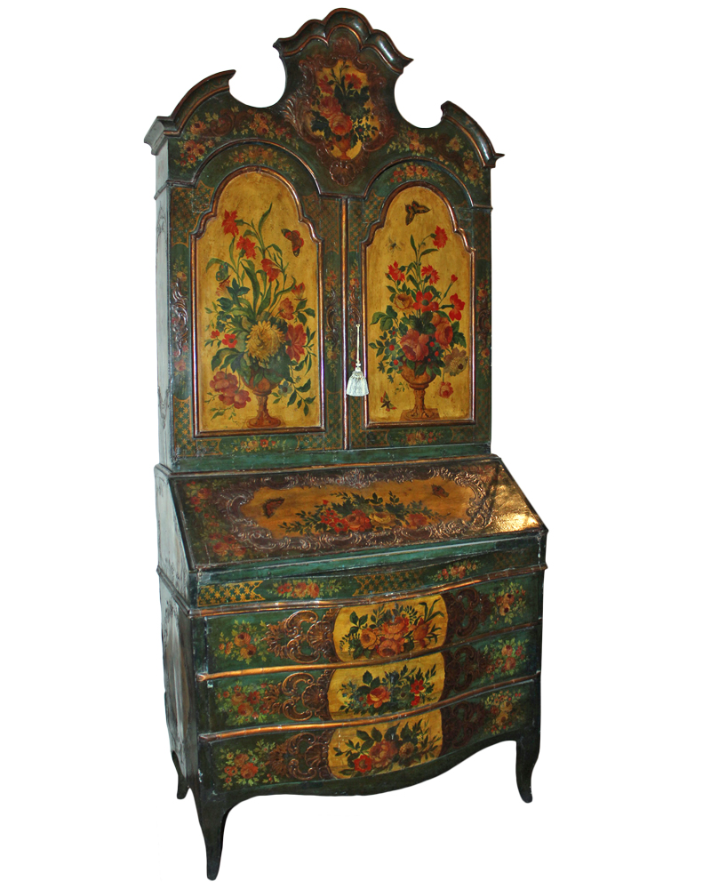 A Rare 18th Century Venetian Polychrome Secretaire No. 2388