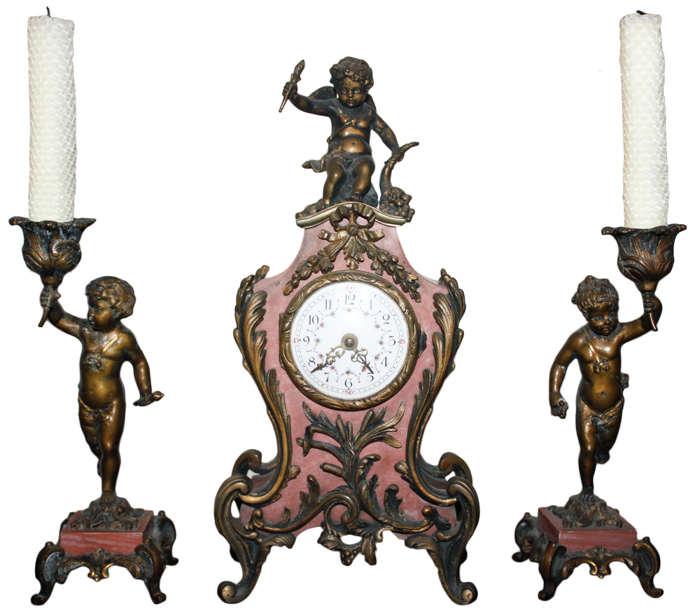 A 19th Century Louis XV en Suite Marble and Bronze Mantle Clock and Pair of Candlesticks No. 2395