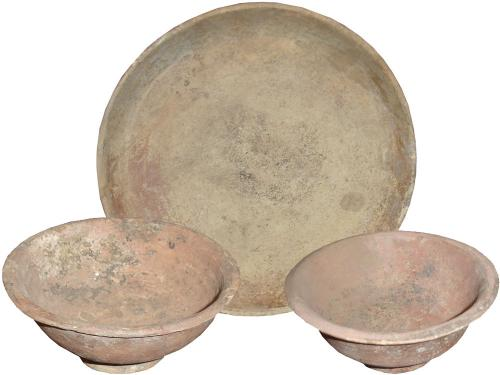 A Set of Two Etruscan Terracotta Bowls and a Plate No. 3382