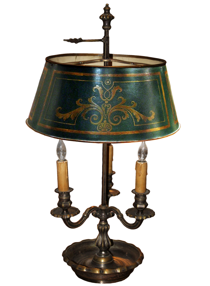 A Handsome Three-Light Bouillotte Lamp No. 2410