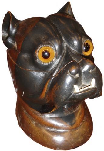 A 19th Century English Polychromed Bull Dog Inkwell No. 3375