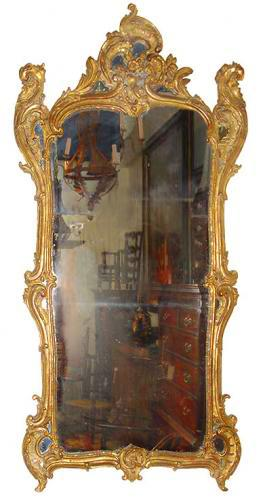 An 18th Century Italian Transitional Rococo Giltwood Mirror No. 3398