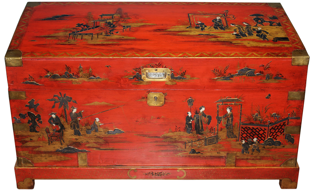 A Vermilion Lacquered 19th Century English Chinoiserie Wood Trunk with Brass Fittings No. 2422