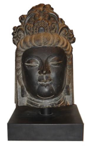 An 18th Century Siamese Stone Buddha Head No. 3410