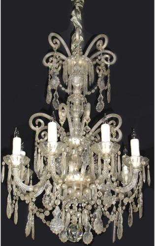 An 8-Light 19th Century Italian Cut Crystal Chandelier No. 3418