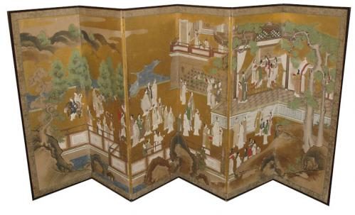 An Edo Period 18th Century Six-Paneled Japanese Lacquered Screen No. 3425