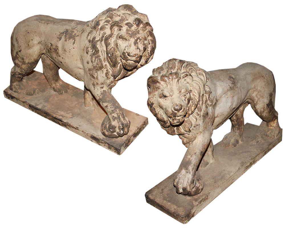 A Regal Pair of 18th Century Terra Cotta Marzocco Florentine Lions No. 2460