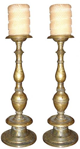 A Pair of Solid Brass Candlesticks No. 3457