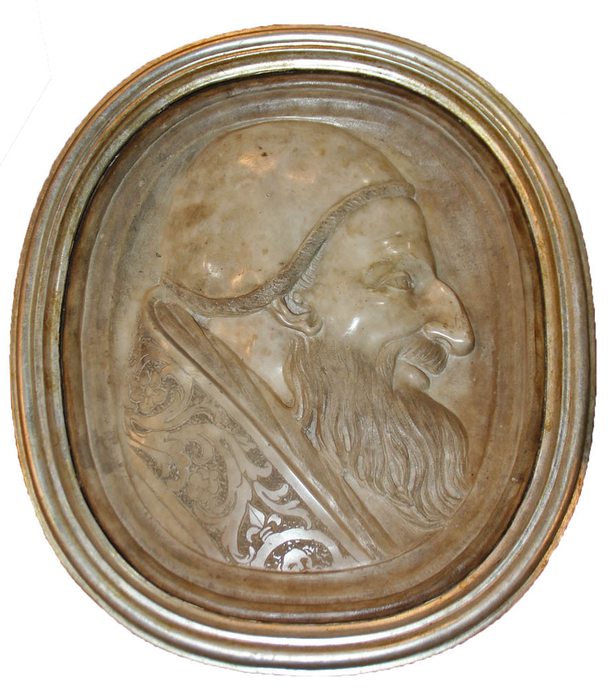 A Rare 16th Century Carrara Marble Bas Relief Plaque of Pope Pius V (1504-1572) No. 2467