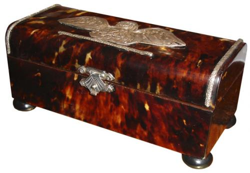 An Unusually Diminutive Tortoiseshell and Sterling Silver Table Box No. 3443