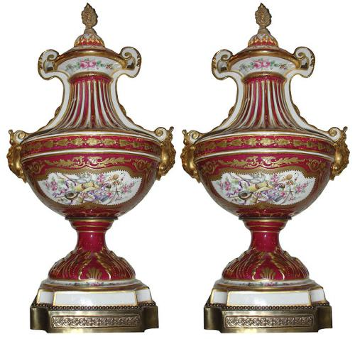 A Pair of 19th Century Red Venetian Porcelain Parcel-Gilt and Enameled Urns No. 3438