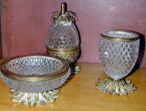 A Set of Three Cut Glass and Brass Smoking Accessories No. 381
