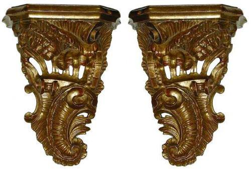 A Pair of Carved Giltwood Sconces with C-Scroll and Shell Carving No. 1849