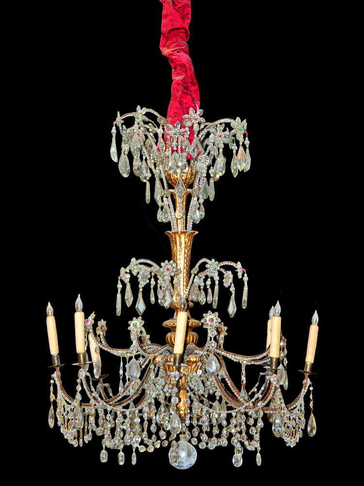 A Glittering 18th Century Eight-Light Cut Crystal and Parcel-Gilt Genovese Chandelier No. 2511