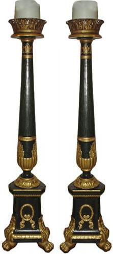 A Palazzo Pair of 18th Century Italian Polychrome and Parcel-Gilt Pricket Sticks No. 3482
