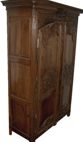 An 18th Century French Louis XV Ash Wood Armoire de Mariage No. 136