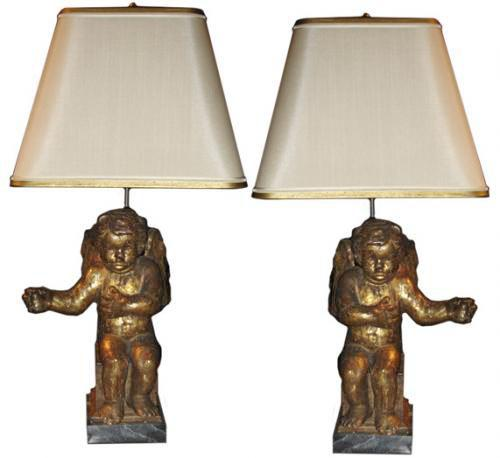 A Pair of 18th Century Italian Silver-Gilt Carved Angels now Electrified as Lamps No. 1497