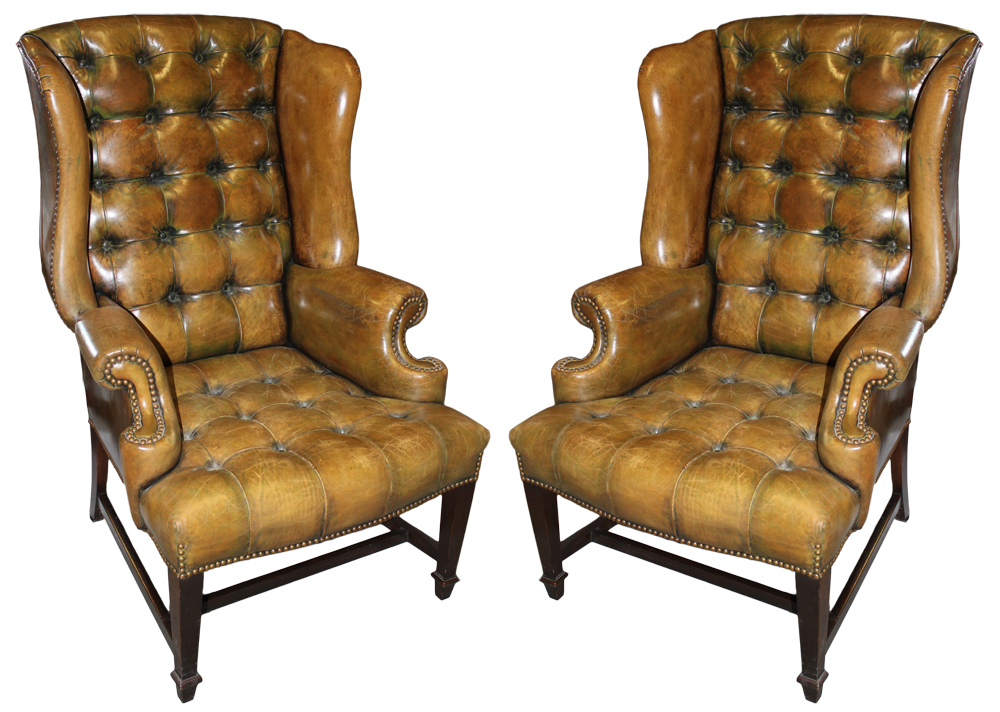 A Vintage Pair of Tufted Leather Wing Chairs No. 2569