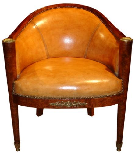 A 19th Century French Charles X Barrel Chair No. 3527