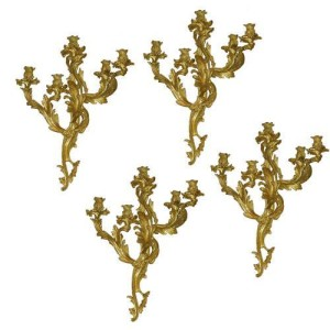 A Set of Four 19th Century Rococo Gilt Bronze 5-Light Appliqués No. 2278