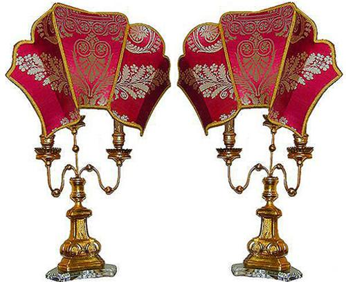 A Pair of 18th Century Italian Three-Armed Candlelabra Lamps No. 2096