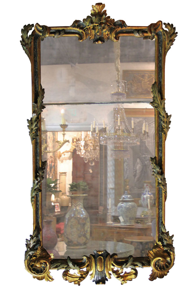 A Remarkable Early 18th Century Italian Régence Parcel-Gilt and Polychrome Mirror No. 2643