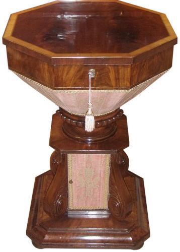 A 19th Century English Regency Mahogany and Satinwood Octagonal Sewing Table No. 3608
