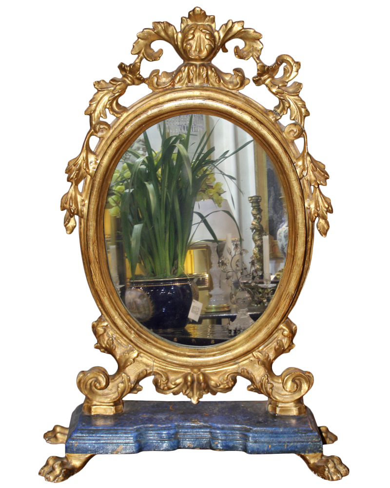 An Ovoid 18th Century Polychrome and Parcel-Gilt Luccan Vanity Mirror No. 2666