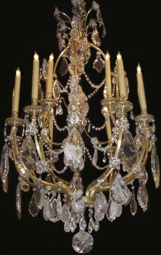 A Magnificent 19th Century Twelve-Light Rock Crystal Italian Chandelier No. 3622